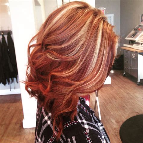 copper lowlights for short blonde hair beautiful copper lob with blonde highlights hair by