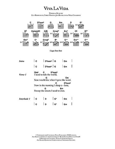 ukulele tutorial viva la vida viva la vida noten von coldplay text akkorde 42473