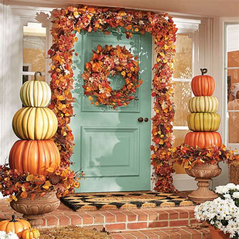 Fake Topiaries For Front Porch - create a beautiful fall display with a stacked pumpkin topiary