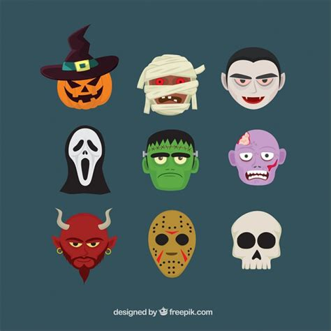 imagenes de halloween vector nueve cabezas de personajes de halloween descargar
