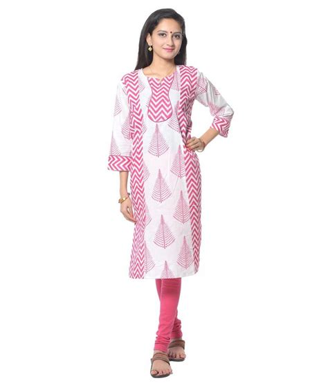 pink combination white and pink combination cotton kurti price in india
