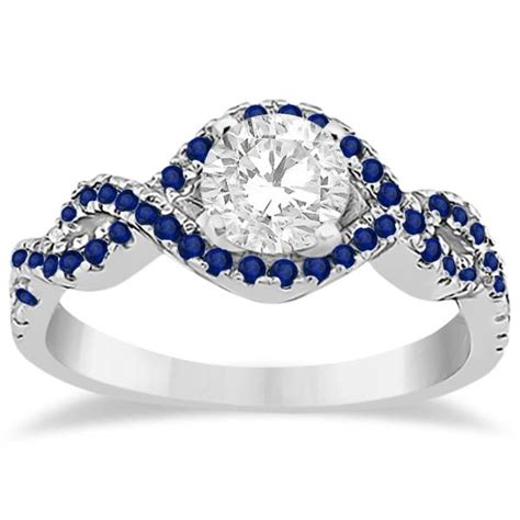 Blue Sapphire 4 35 Ct blue sapphire halo infinity engagement ring 14k white gold