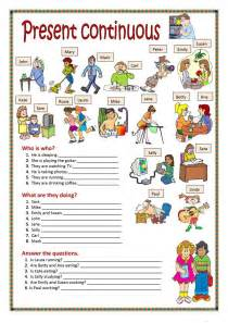 present continuous worksheet free esl printable