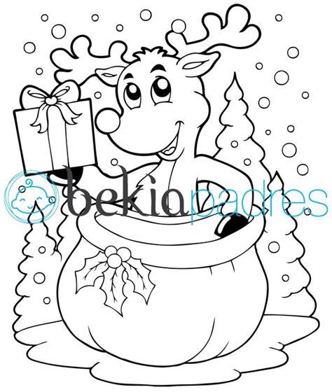 dibujos navideños para colorear renos reno de navidad dibujo para colorear