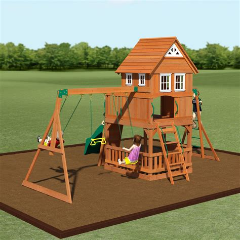 voyager wooden swing set