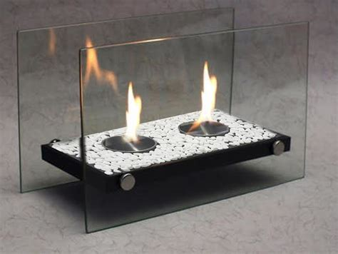 heaters ethanol tabletop fireplaces with white stones