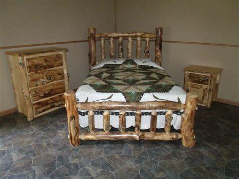 rustic aspen log bedroom set queen complete bed