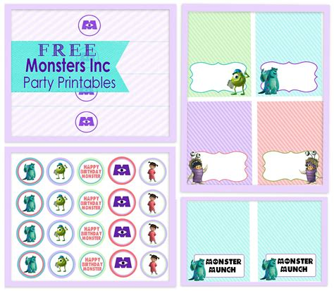free printables decorations a girly monsters inc free printables