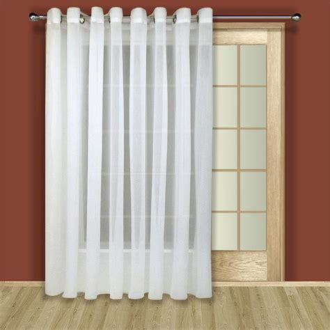 curtains double width tergaline sheer curtain panel in ivory or white
