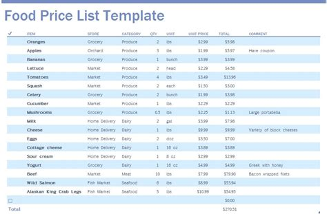 printable price list template 9 free sle food price list templates printable sles