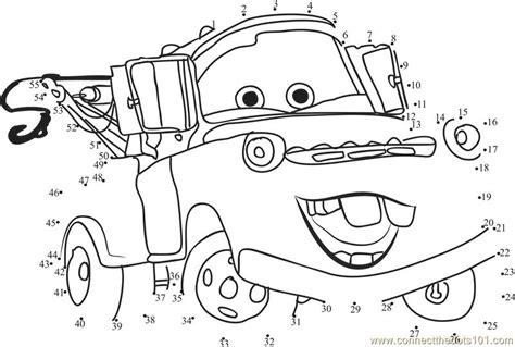 printable dot to dot cars funny cars disney dot to dot printable worksheet connect