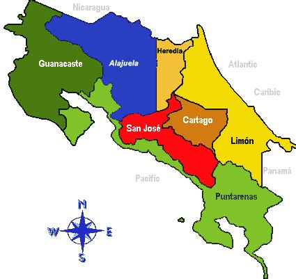 costa rica population map costaricalaw maps of the provinces and cantons of