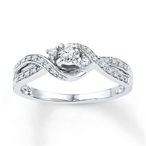 promise ring 1 6 ct tw cut sterling silver