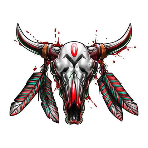 bull skull amazing tattoo design