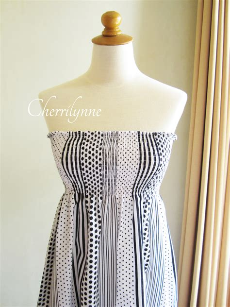 pattern tube dress summer dress strapless smocked cotton tube dress