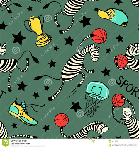 video player pattern basketball game seamless pattern with doodle cute zebra