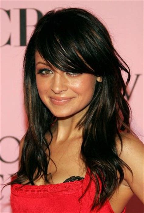 brunette hairstyles wiyh swept away bangs medium curls my hair and curls on pinterest
