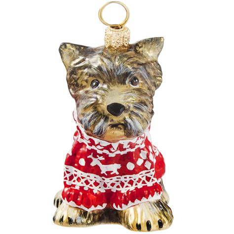 yorkie ornaments yorkie w nordic sweater ornament new for 2016