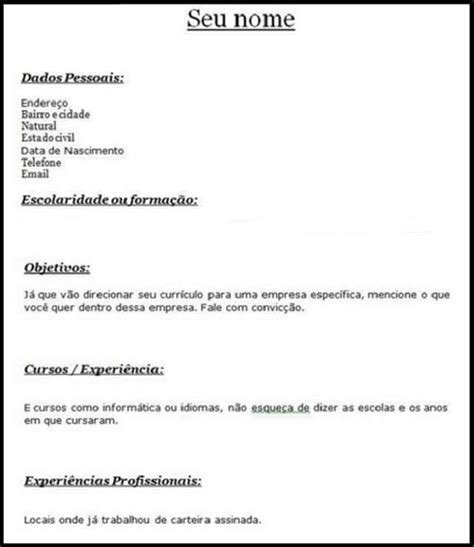 Modelo Curriculum Vitae Basico Experiencia Modelos De Curriculum Vitae Primeiro Emprego
