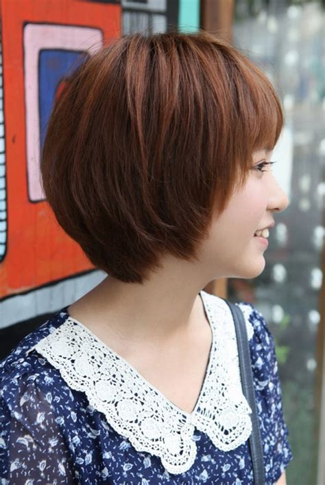 back and side view of short layered hairstyles side view of cute short korean bob hairstyle sweet short