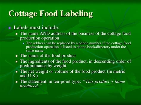 cottage food labels farmers markets food safety pp