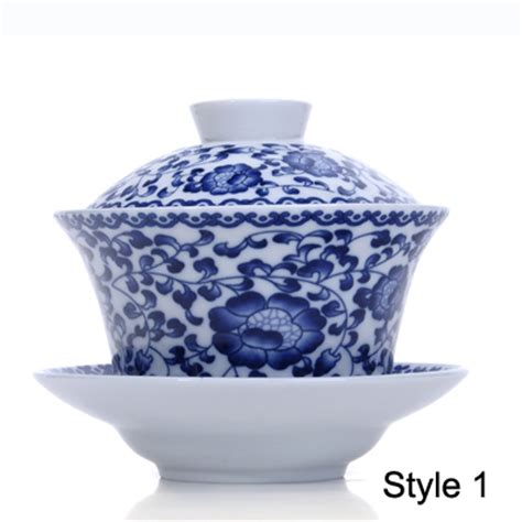 blue and white porcelain blue and white porcelain gaiwan tea cup