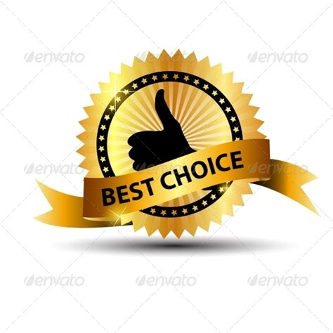 best choise vector best choice label with gold ribbon by yganko