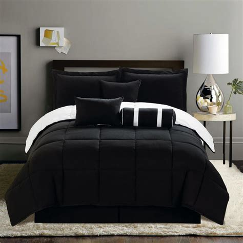 Bed Set Black 7 Pc New Black White Soft Reversible Comforter Set Size Bed In A Bag Ebay