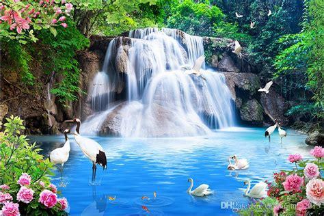 scenery wallpaper crane peony waterfall water scenery wall