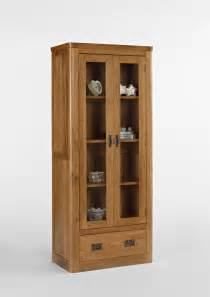 Display Cabinets Knightsbridge Oak Glass Display Cabinet With Drawer
