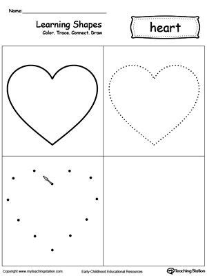 printable learning shapes learning shapes color trace connect and draw a heart