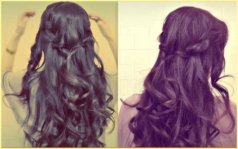 easy half up half down hairstyles youtube easy prom half up updo how to waterfall rope braid