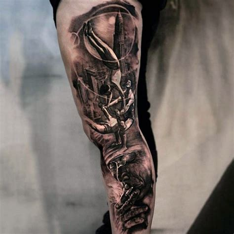 Sehr Realistisch Aussehende Schwarze Akrobaten Mit Altem Cool Tattoo Ideas For Guys Arms