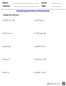 algebra 1 worksheets monomials and polynomials worksheets
