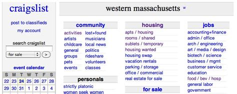 Craigslist Boston Housing by Craigslist Western Massachusetts Classifieds For