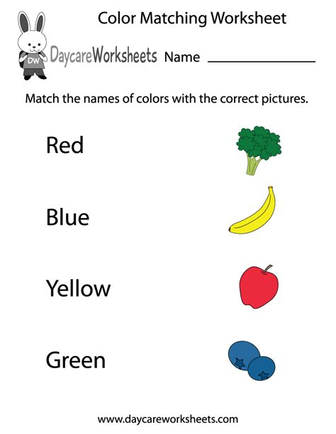 Free Preschool Color Matching Worksheet Colour Worksheets For Preschoolers
