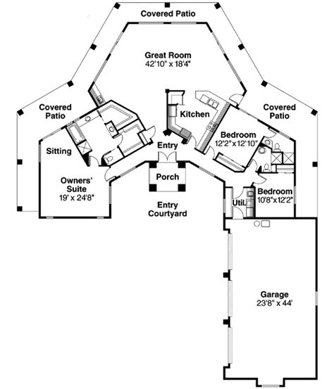 Southwestern Floor Plans by Southwest Style House Plans 2431 Square Foot Home 1