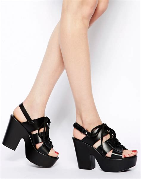 Punched Cut Out Platform Wedges At Asos by Shellys Shellys Black Leather Platform Cut