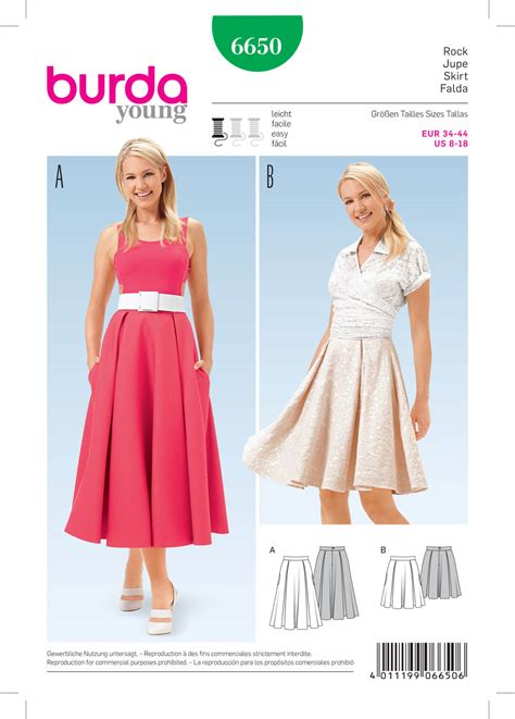 skirt pattern burda burda 6650 misses skirt