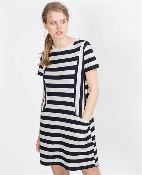 Zara Striped Dress zara striped dress in blue lyst