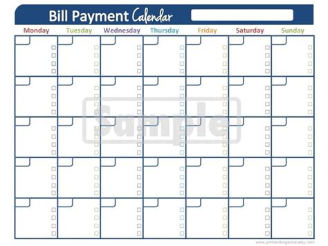 monthly payment calendar template best photos of printable monthly bill calendar printable