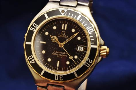 omega seamaster professional 200m 18ct gold ss authentic