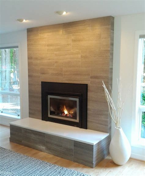 modern brick fireplace porcelain tile clad solid surface