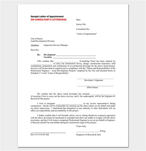 Appointment Letter Clauses Contractor Appointment Letter 6 Sles In Word Pdf