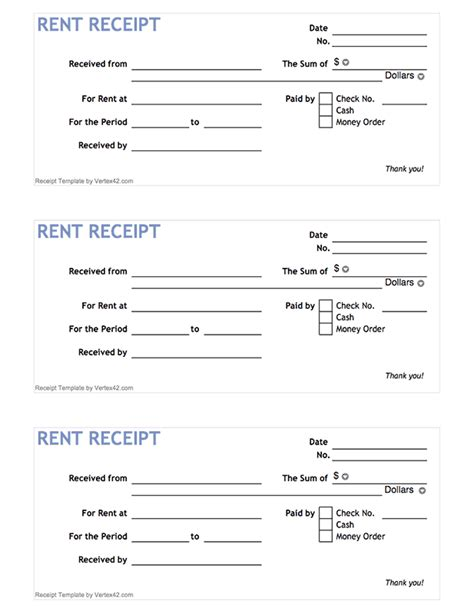 blank receipt template pdf free printable rent receipt form pdf from vertex42