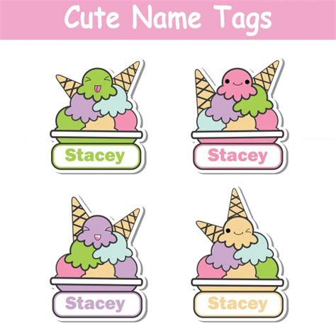 name tag design cartoon character vector cartoon illustration with colorful kawaii ice cream