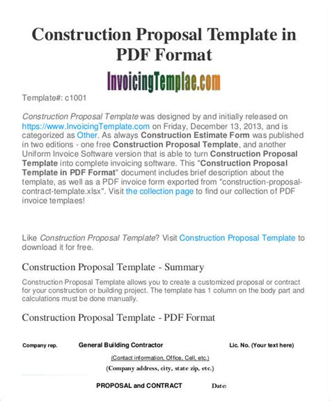 construction business proposal templates   word  format   premium