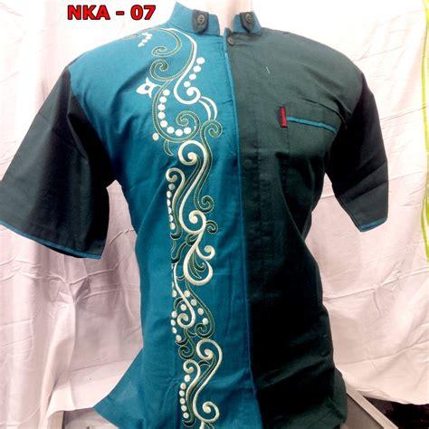 Baju Di Indah Bordir baju koko lengan pendek kombinasi bordir