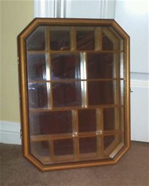 Shadow Box With Shelves And Glass Door Vintage Wood Curio Cabinet Shadow Box Wall Hanging Hinged Beveled Glass Door