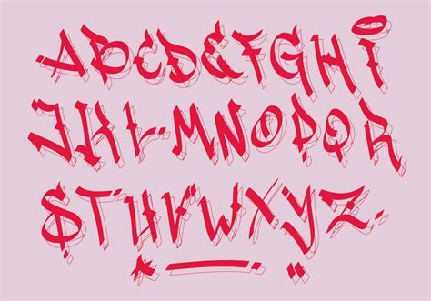 red black letter calligraphic graffiti alphabet vector